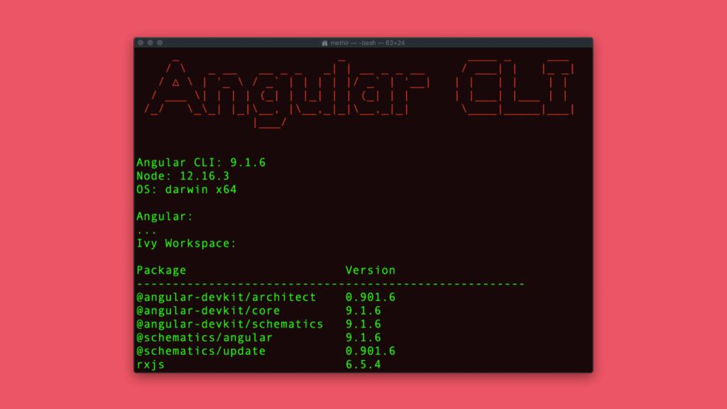 Resultado do ng version do angular cli
