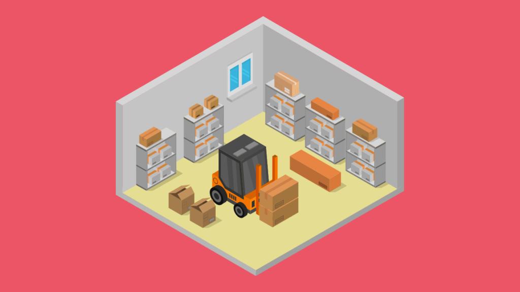 Carrinho armazenando pacotes em um local